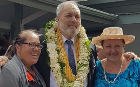 Tony Armstrong with wife Agnes and daughter during his swearing in as an MP, 19 Sept 2018.