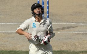 Black Caps wicketkeeper/batsman BJ Watling reflects with disappointment after his dismissal.
