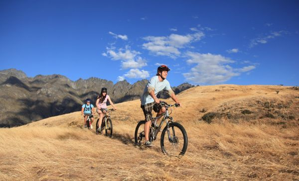 Trail-bike riding at Jack's Point, near Queenstown.
