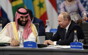 Saudi Arabia Crown Prince Mohammed bin Salman (L) and Russia's President Vladimir Putin attend the G20 Leaders' Summit in Buenos Aires, on November 30, 2018.