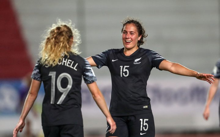 Football Ferns players Paige Satchell and Sarah Morton.