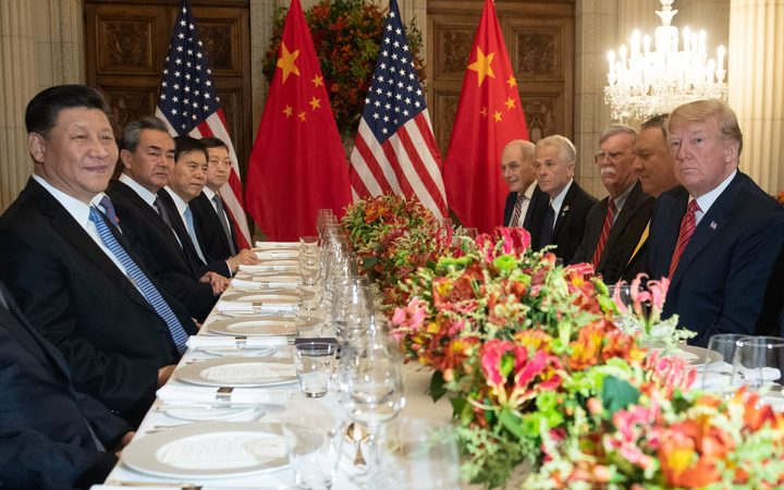 China President Xi Jinping and US President Donald Trump at a dinner at the end of the G20 Leaders Summit in Buenos Aires