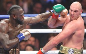 Deontay Wilder fighting Tyson Fury in the WBC World Heavyweight Title in Los Angeles.