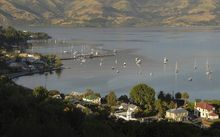 The village of Akaroa, on Banks Peninsula.