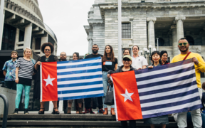 The demonstration in support of West Papua in Wellington.