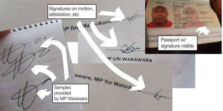 Signature comparisons provided to the Vanuatu Daily Post by a government MP who is accusing the opposition of forging his signature on a no confidence motion. December 2018