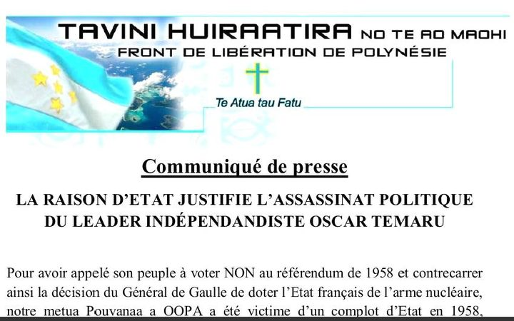 Media statement claims French political assassination of Oscar Temaru