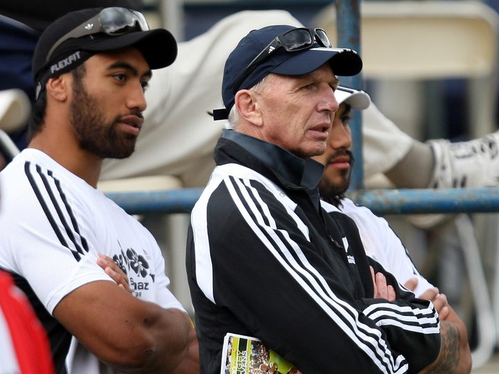 Victor Vito, Gordon Tietjens and Ma'a Nonu watch on at the 2010 New Zealand Nations Sevens.