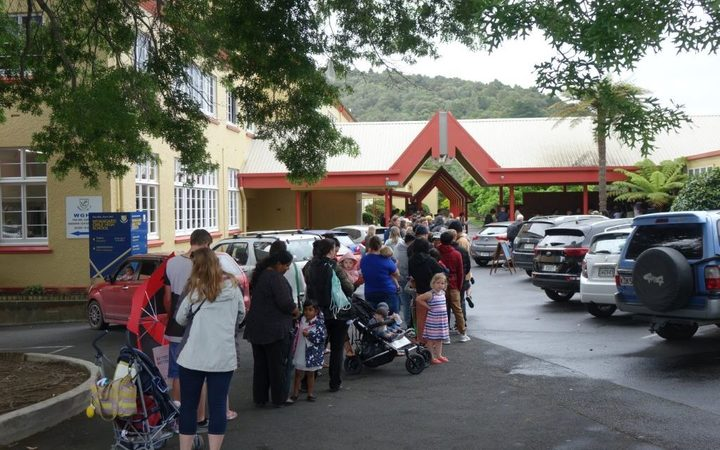 The queue outside the vax clinic at  Whangarei Girls High