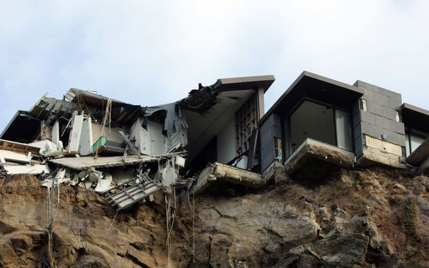Earthquake-damaged home in Sumner, Christchurch.