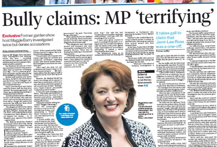The Weekend Herald's exclusive on Maggie Barry.