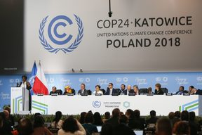 Mae Jemison gives a speech during COP 24, the 24th Conference of the Parties to the United Nations Framework Convention on Climate Change. Katowice, Poland on 4 December, 2018.