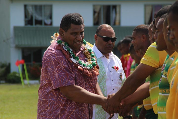 Fiji Rugby CEO John O'Connor greets players.