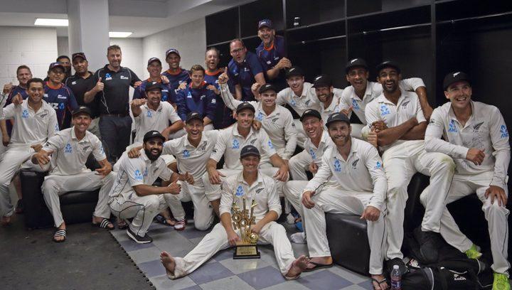 Black Caps celebrate historic away test series win over Pakistan.