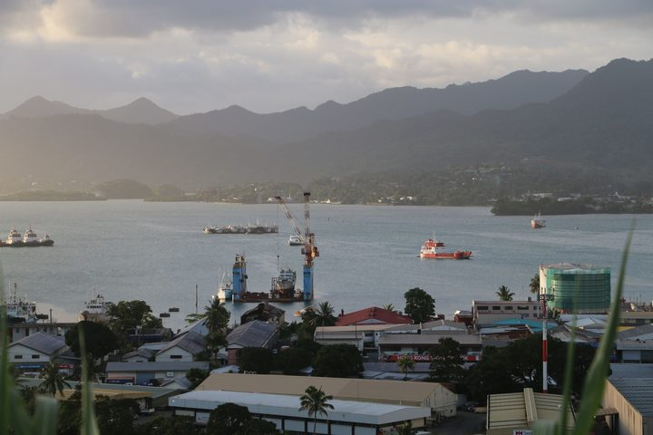 A view of the harbour from the hills above the Fiji capital Suva.