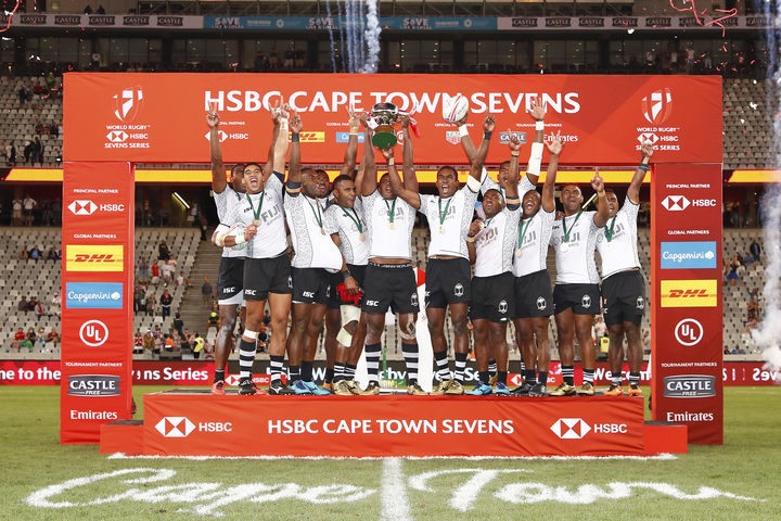 Fiji Players Celebrate Winning The Cape Town Sevens