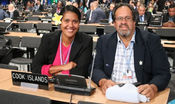 Wayne King and Rima Moeka'a at the UN Climate Change conference in Katowice, Poland.