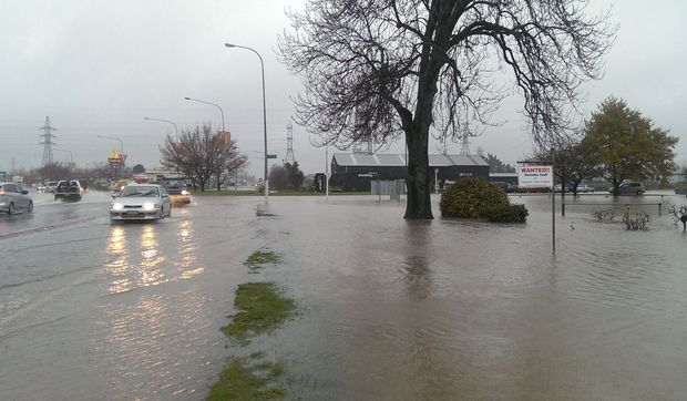 Traffic slowed as surface flooding increased in Rangiora.