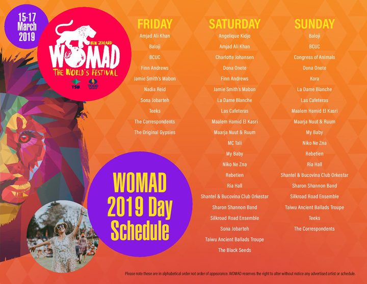 WOMAD 2019 day schedule