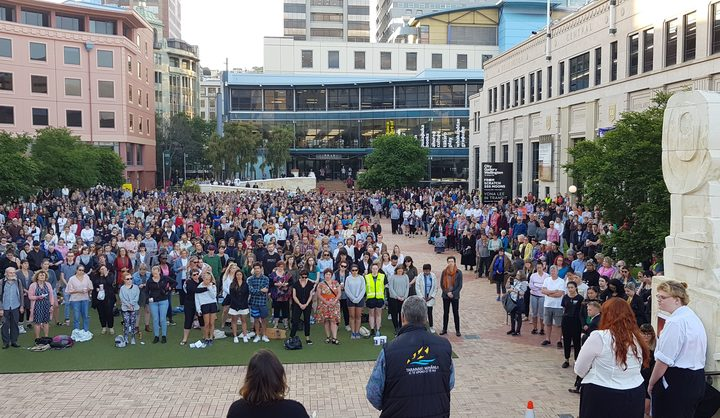 The Wellington vigil for slain backpacker Grace Millane.