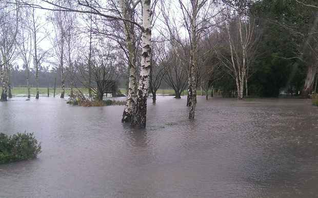 Flooding on a property in Flaxton Road, Rangiora.