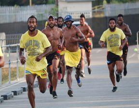 PNG Hunters players are put through their paces in pre-season training.