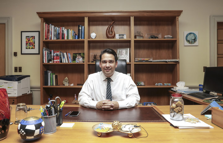 Simon Bridges in his office.