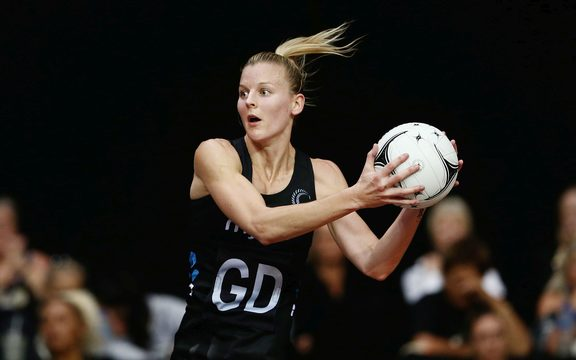 Katrina Rore (nee Grant) in action against Malawi at the 2018 Taini Jamison trophy