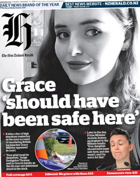 The New Zealand Herald's front page last Tuesday.