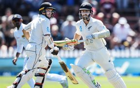 New Zealand captain Kane Williamson, right, and Tom Latham bat together at the Basin reserve.