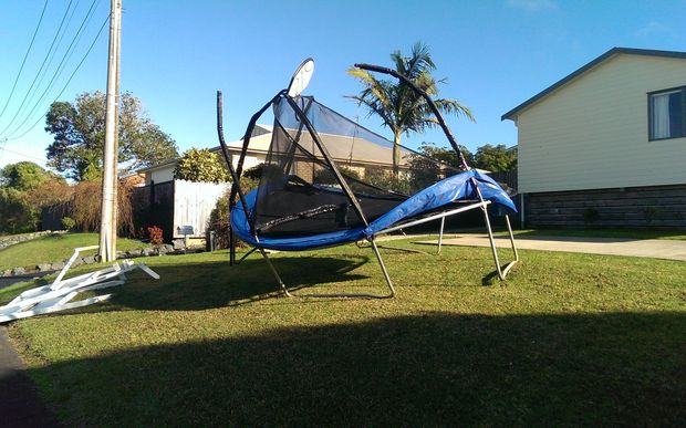 Gales flung trampolines around properties in Whangaparaoa.