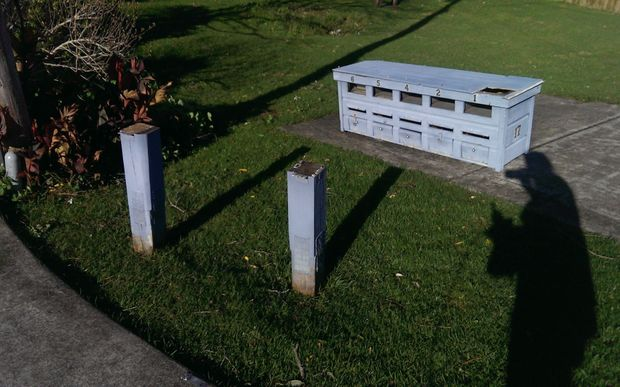Letterboxes blown off their stand in Whangaparaoa.