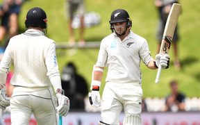 Tom Latham on day three of the first cricket Test between the New Zealand Black Caps and Sri Lanka at the Basin Reserve.