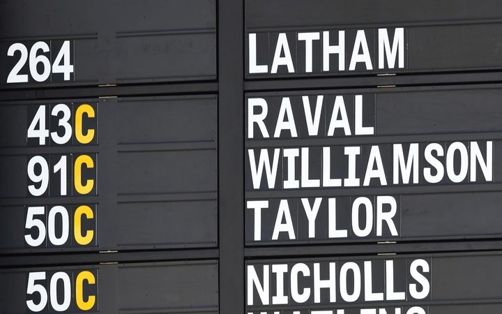 Tom Latham 264 not out on the scoreboard on Day 3 of the first cricket test. New Zealand Black Caps v Sri Lanka. Basin Reserve, Wellington, New Zealand. Monday 17 December 2018 © Copyright photo: Andrew Cornaga / www.photosport.nz