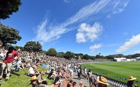 General View of the bank at the Basin Reserve Cricket Ground 2018