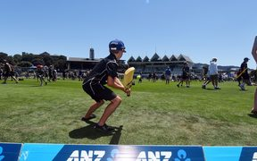 Fans seen playing on the Basin Reserve field at the lunch break 2018