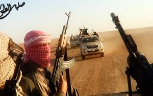 An image from a propaganda video claims to show militant fighters near Tikrit.