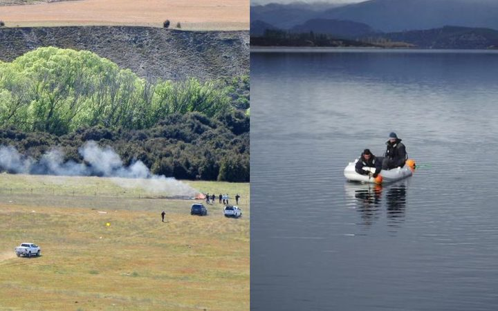 The scene of the crash near Wanaka Airport that claimed three lives in October (left), while police divers search for the wreckage of the helicopter that crashed into Lake Wanaka in July (right).