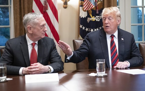United States President Donald Trump gestures towards Secretary of Defense James Mattis, 23 October, 2018 at the White House.