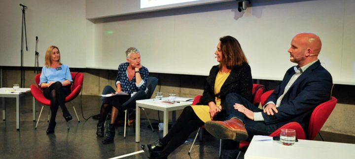 Prof Cliona Ni Mhurchu, Kim Hill, Megan Tunks and Simon Kenny
