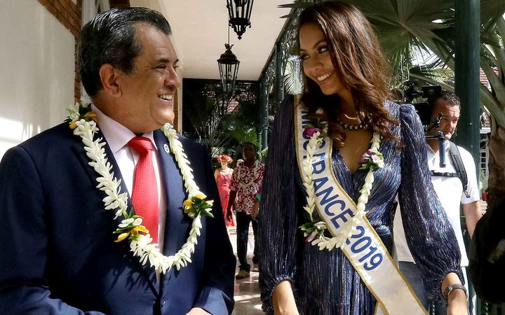 French Polynesia president Edouard Fritch and Miss France Vaimalama Chaves