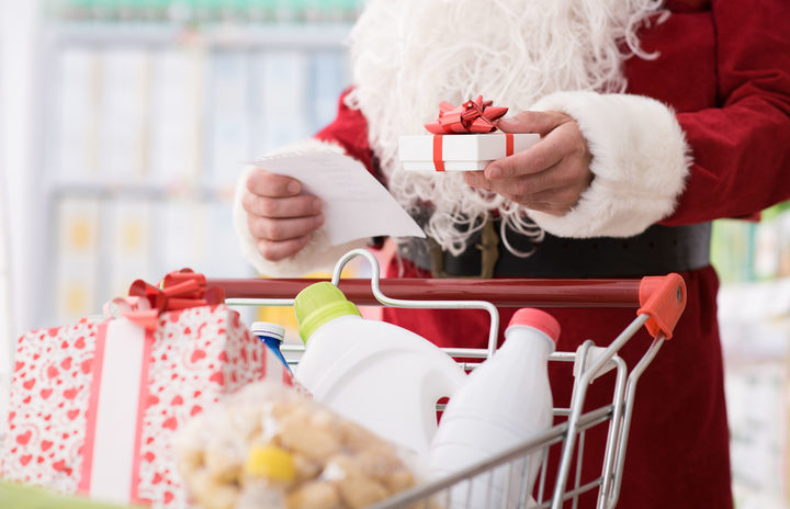 Santa Claus doing grocery shopping at the supermarket,