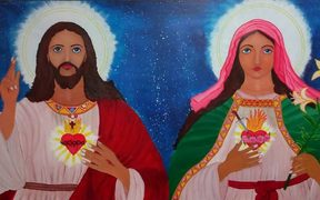 An artwork painted by refugee Thanus Selvarasa for a Manus church.