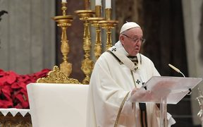 Pope Francis celebrates a mass on Christmas eve.