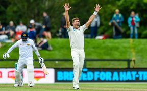 Tim Southee of the Black Caps appeals for a wicket during Day1 of the cricket test match against Sri Lanka in Christchurch.