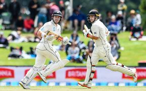 Henry Nicholls and Tom Latham bat during the second Test against Sri Lanka.