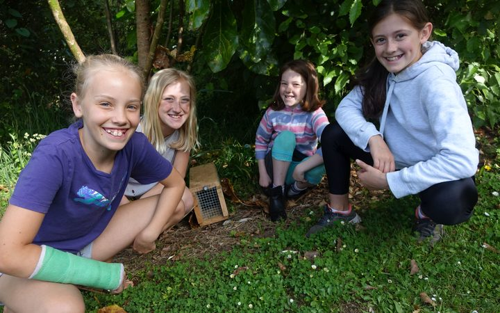 Oakura School trappers, from left, Imogen Webber, 10, Alex Juffermans, 11, Samantha Bentall, 9, and Hannah Dixon 11.