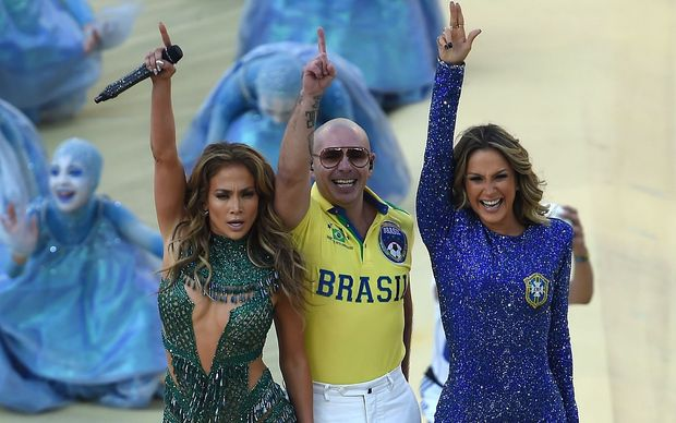 Jennifer Lopez, rapper Pitbull and Brazilian pop singer Claudia Leitte starred in the opening ceremony.
