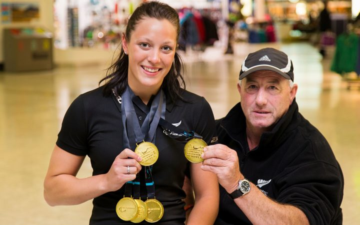 New Zealand Paralympic swimmer Sophie Pascoe and her coach Roly Crichton.