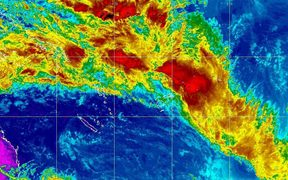 Tropical disturbances moving close to Fiji.